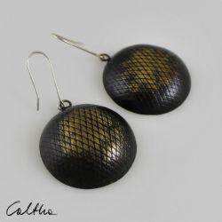 Rybia łuska - mosiężne kolczyki 140714-06
