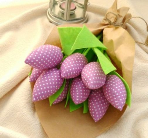 Tulipan 100% bawełna 10szt.fiol.krop