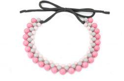 Naszyjnik kolia pastelowa różowo szara