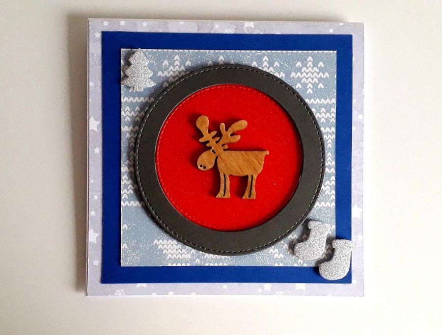 Kartka Boże Narodzenie handmade z łosiem