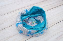 KOMIN szalik chusta - bawełna i Minky - niebieskie kokardki
