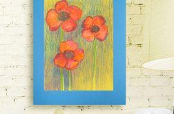 Rysunek kwiaty na niebieskim tle nr 5 - szkic
