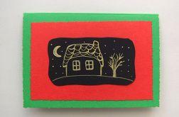 Ręcznie robiona Zielona kartka domek 3