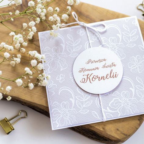 Oryginalne zaproszenie na I Komunię koronka