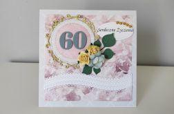 Kartka ręcznie robiona na urodziny 40, 50, 60 kwiaty