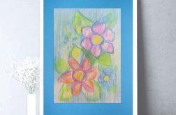Rysunek kwiaty na niebieskim tle nr 3 szkic