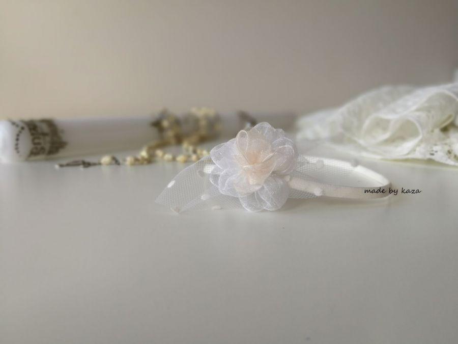 Tiulowa opaska na chrzest biała ivory ecru