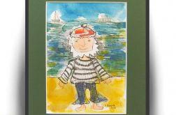 Marynarz akwarela ręcznie malowana obrazek