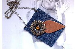 4619 długi naszyjnik jeansowy, kwiat