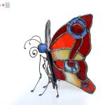 Ognisty motyl - witrażowy motyl