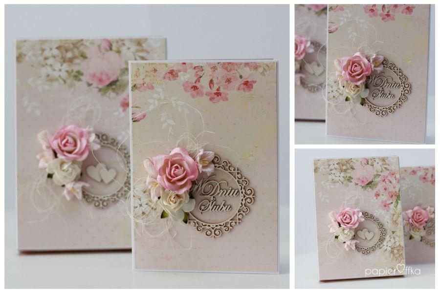 Pudełko z kartką romantyczny ślub 1