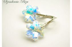 Kolczyki Swarovski Snowflake Crystal AB
