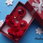 Czerwone z kwiatowym Chwostem kolczyki sutasz - Czerwone kolczyki sutasz kwiatowy chwost rhodiana sutasz