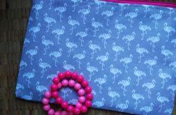 Kosmetyczka bawełniana białe flamingi