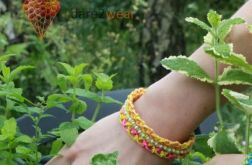 Pleciona bransoletka - żółto-różowa