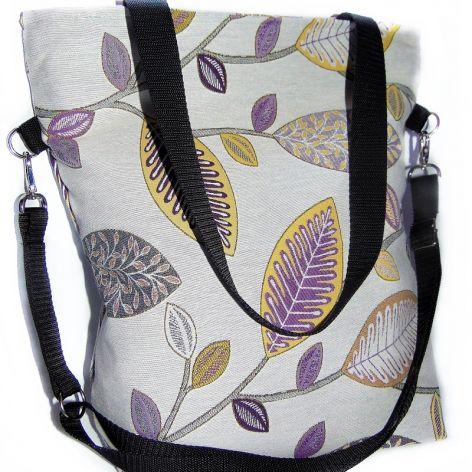 Torebka damska torba miejska liście fiolet