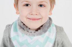 Apaszka, chustka dla dziecka minky - miętowe zygzaki