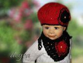 beret/czapka z chustką z różą
