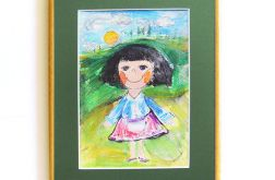 Kolorowy obrazek do pokoju dziewczynki rama