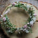 wianek do włosów różowo-biały - wianek dla panny młodej