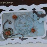 Kartka z okazji ślubu retro błękit