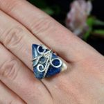 Srebrny pierścionek z sodalitem handmade - Sterling Silver ring with Sodalite, gift for her gift for mom, perfect present unique artisan handcrafted jewelry for women, size 6.5 US