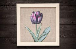 Tulipan kwiat malarstwo płótno rama drewniana