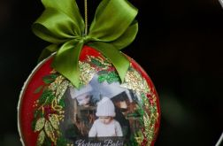 Bombka ze zdjęciem - świąteczna czerwień