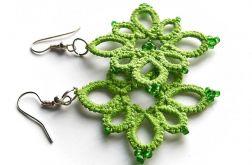 Kolczyki koronkowe - zielone