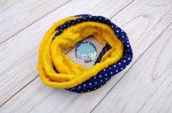 KOMIN szalik chusta - bawełna i Minky - żółto granatowy w białe kropeczki