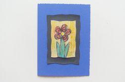 Kartka granatowa z kwiatkiem  9
