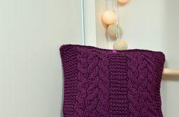 Poszewka na dużą poduszkę burgund z warkoczem
