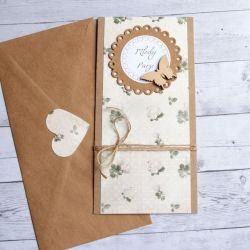 kartka ślubna - cream roses - slim
