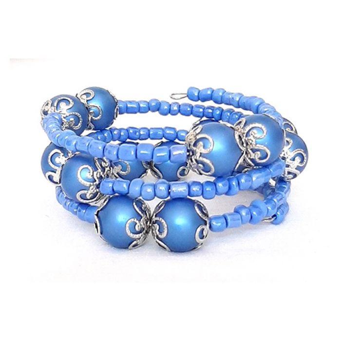 3974 niebieska bransoletka szklane pereły -