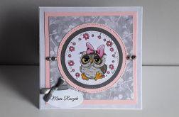 Kartka na Roczek króliczek sowa kwiatuszki
