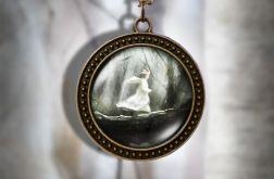 Naszyjnik, medalion - Magiczny Las - antyczny brąz - zdobiony