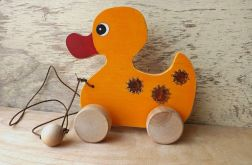 Drewniana kaczka do ciągania, pomarańczowa