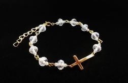 Bransoletka z Krzyżykiem Kryształki Tranparen