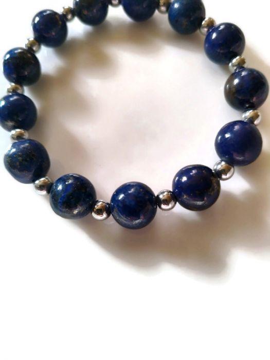 Bransoletka z lapis lazuli i hematytu - Bransoletka nadaje stylu i charakteru