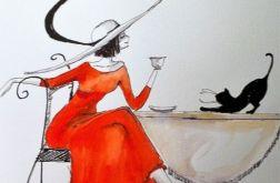 """Akwarela """"Dama z kotem"""" - obraz Vintage"""