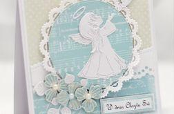 Kartka z aniołkiem na chrzest KCH014