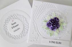 Kartka W DNIU ŚLUBU biało-fioletowa #1