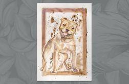 """Malowany akwarelami pies """"Uśmiecham się """""""