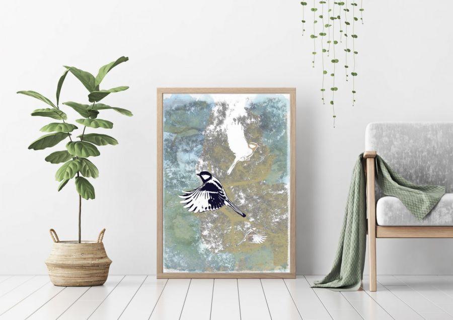 Ptaki I, plakat sygnowany, B2 70x50 cm - Praca sygnowana