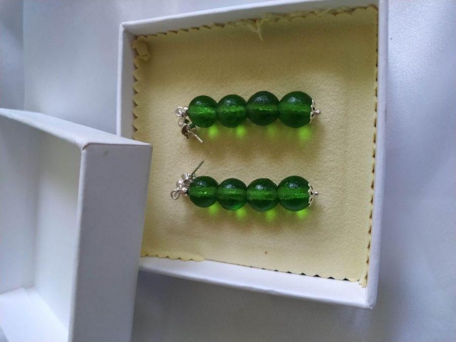 Kolczyki srebrne z naturalnego mołdawitu