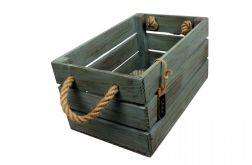 Skrzynka drewniana brąz - turkus 20x31x16,5