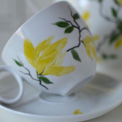 """Filiżanka 250 ml ze spodkiem ,,Żółta magnolia"""""""