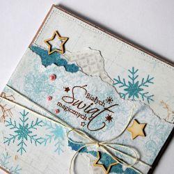 Kartka bożonarodzeniowa ze śnieżynkami