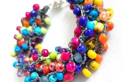 4382 tęczowa kolorowa bransoletka szkło