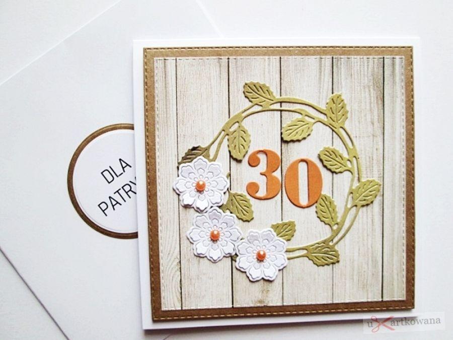 Kartka NA URODZINY z zielonym wiankiem - Kartka na urodziny z wiankiem i kwiatuszkami